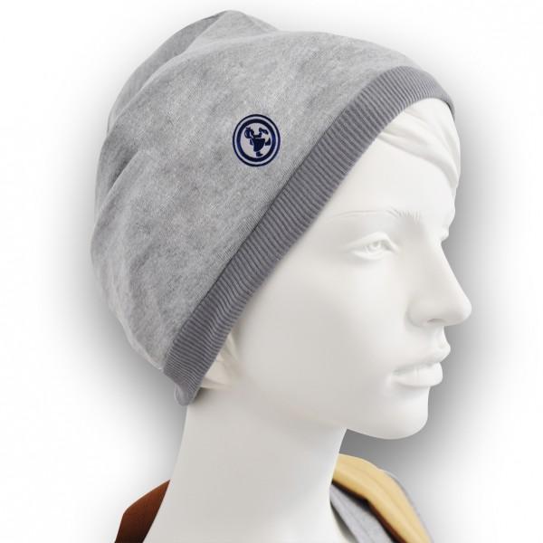 Grubenmädel Mütze mit Stickemblem (grau/dunkelblau)