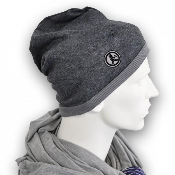 Grubenjunge Mütze mit Stickemblem (schwarz/schwarz)
