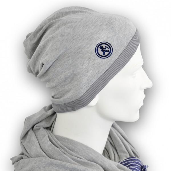 Grubenjunge Mütze mit Stickemblem (grau/dunkelblau)