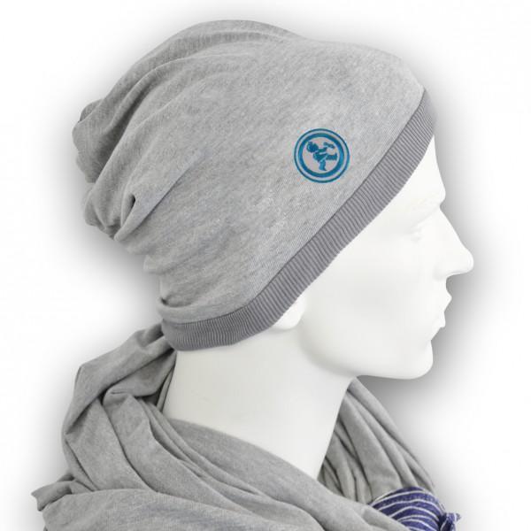 Grubenjunge Mütze mit Stickemblem (grau/cyan)