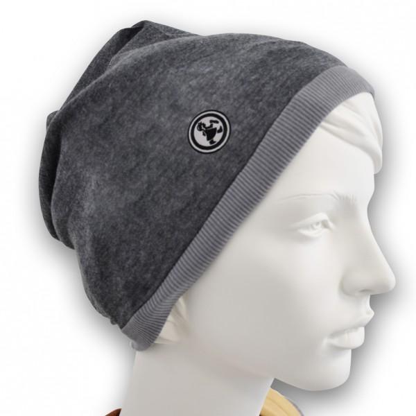 Grubenmädel Mütze mit Stickemblem (schwarz/schwarz)