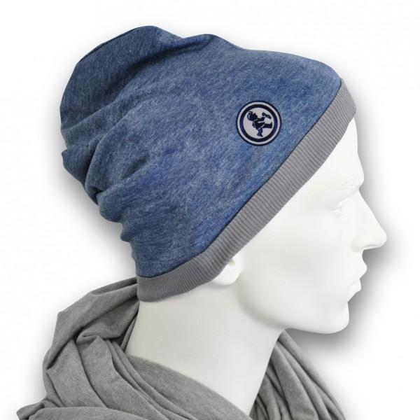 Grubenjunge Mütze mit Stickemblem (blau/dunkelblau)