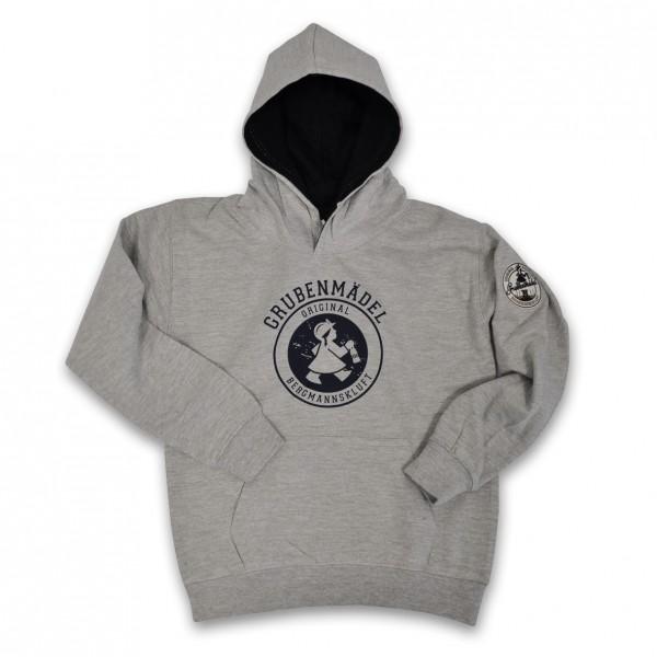Grubenmädel Kinder-Sweat-Shirt (grau) mit Kapuze und Stickemblem