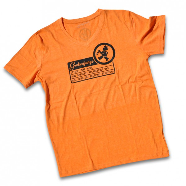 "Grubenjunge T-Shirt ""Getauft inne Ruhr..."" (orange)"