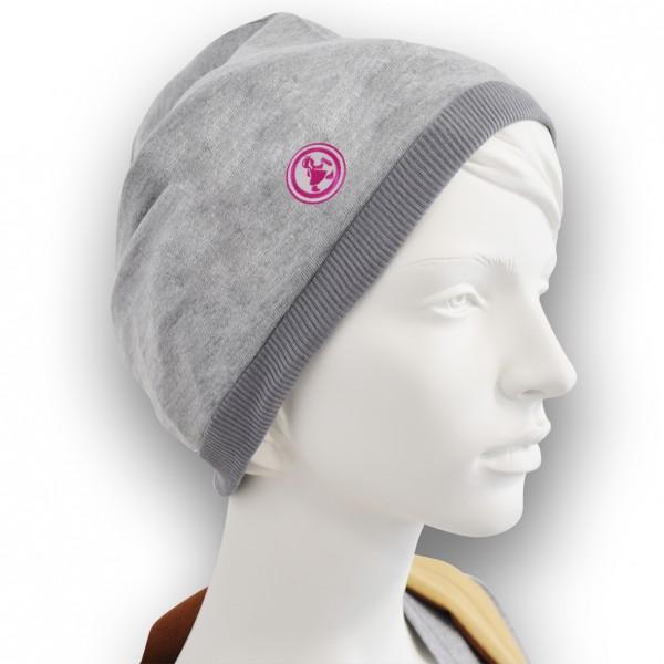 Grubenmädel Mütze mit Stickemblem (grau/pink)
